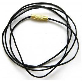 Гайтан 1 мм, хлопок, с замком (чёрный, 70 см)